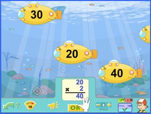 The Submarines multiplication game